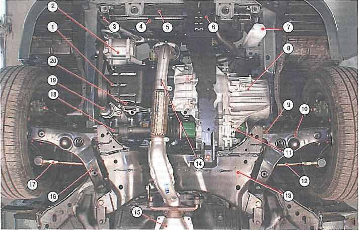 Подкапотное пространство автомобиля лансер 9 (вид снизу)