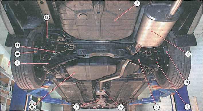 Основные агрегаты лансер 9 (вид снизу сзади)