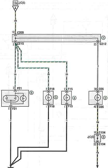 Схема 13в.  Габаритное освещение и освещение номерного знака: 1 - монтажный блок реле и предохранителей в салоне; 2...